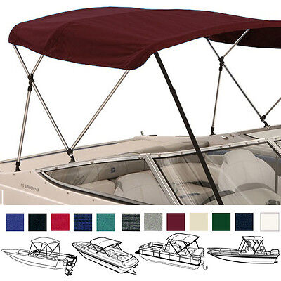 "Bimini Top Boat Cover Burgundy 3 Bow 72""l 36""h 67""-72""w - W/ Boot & Rear Poles"