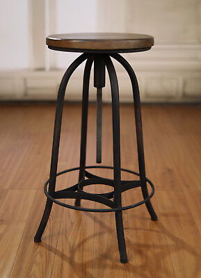 4 x Stools Metal Base Adjustable French Provincial Hardwood Industrial Barstools
