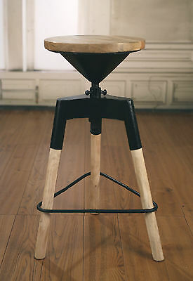 Stool Metal Base Adjustable French Provincial Industrial Hardwood Rustic Bar New