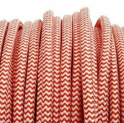 Red & White vintage style textile fabric electrical cord cloth cable retro light