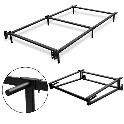 black folding heavy duty metal bed frame center support bedroom twin size