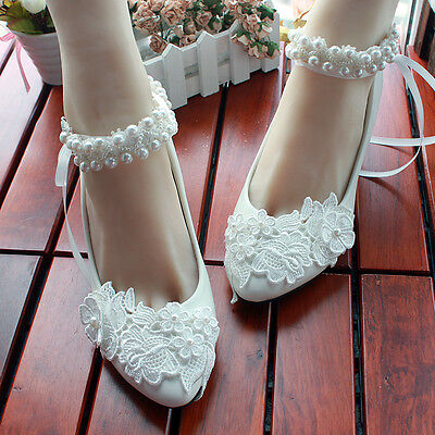 Gorgeous Flower Wedding Lace Prom Bridal Bridesmaid Flat High Low Heels shoes