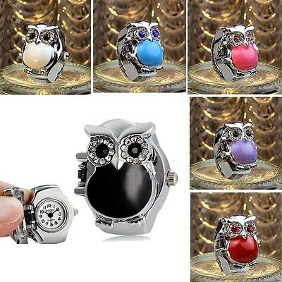 New Hot Creative Fashion Retro Owl Finger Watch Clamshell Ring Watch Tide