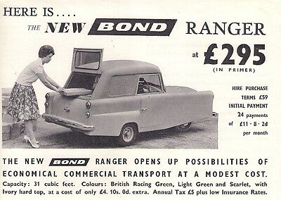 Bond Minicar Mark F Ranger Van 1960-61 UK Market Leaflet Sales Brochure