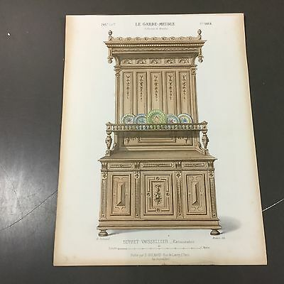 Le Garde Meuble, lithography, 1880, hand coloured, Buffet Vaissellier(F9/5)