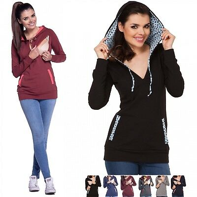 Zeta Ville - Women's Maternity Nursing Hooded Sweatshirt - Zip Cut-outs - 124c
