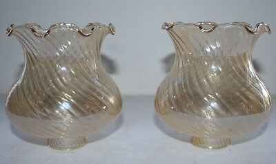 Antique pair carnival opilescent iridescent table lamp shades ruffled border