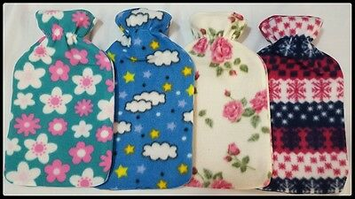 New Warm Soft 2Liter Large Hot Water Bottle With Removable Pattern Fleece Covers