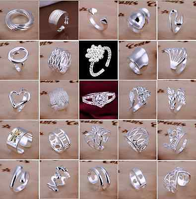 Wholesale 925 Solid Silver Filled Ring Men's Women's Fashion Jewelry Size 8