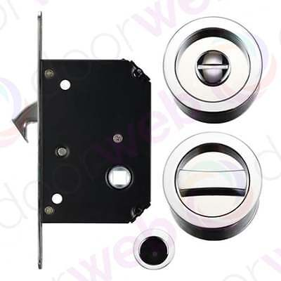 Bathroom Pocket Sliding Door Lock Kit Flush Pull Handle Toilet WC