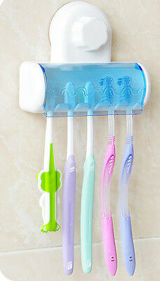 New Home Bathroom Wall Mount 5 Toothbrush Spin brush Suction Holder Stand Rack