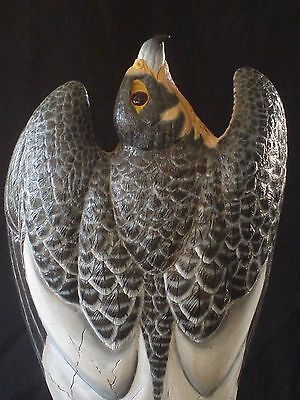 Falcon Sculpture, Wood Sculpture, Wood Carving, Birds of Prey, Falconry Art..