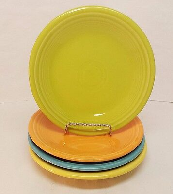 "Fiestaware mixed colors Salad Plate Lot of 4 Fiesta 7 1/4"" Small Plates 4C3M4"