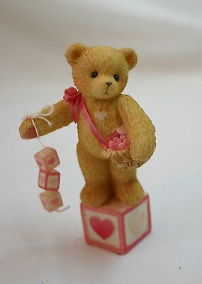 Cherished Teddies Bear w/Heart Dangling Blocks Mini Figurine-MIB