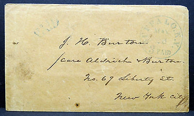 US Stampless Cover 3 Paid Buffalo New York City Vorphilatelie Brief (Lot # 9074