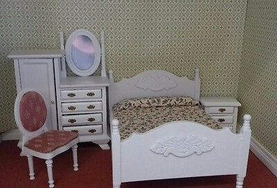 Dolls House Miniatures 1/12th scale White Bedroom Set 4pc (DF1537)