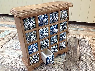 Fair Trade Hand Crafted Mango Wood 16 Drawer Blue White Ceramic Spice Chest