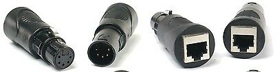 (2) RJ45 Ethernet to 5 Pin XLR DMX Female & Male Adapter Sets by VRL