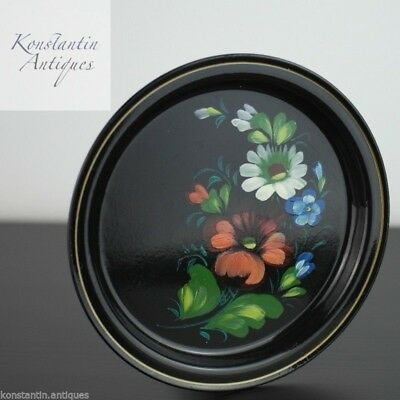 Vintage Russian metal tray plate hand paint enamel flowers USSR great gift