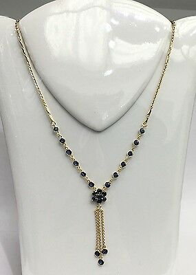 14k Solid Gold Flower Dangle Pendant Necklace/Chain, Natural Sapphire 4TCW