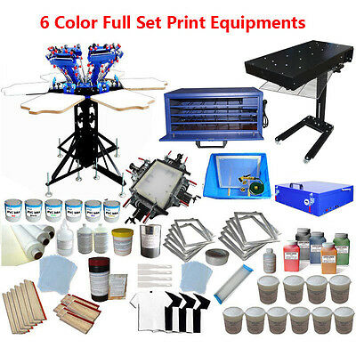 "6 Color 6 Station Screen Printing Press 18x24"" flash dryer Materials kit Starter"