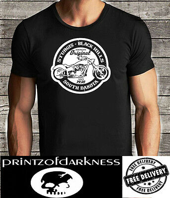 MENS BLACK  T Shirt  STURGIS South Dakota Black Hills Free Postage