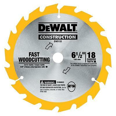 "DEWALT DW9155 165mm (6-1/2"") 18 TOOTH CARBIDE CIRCULAR SAW BLADE DC390 BSS611"