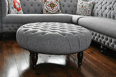 Round Large Diameter 36 inch  Footstool Pouffe Deep Buttons CHESTERFIELD STYLE
