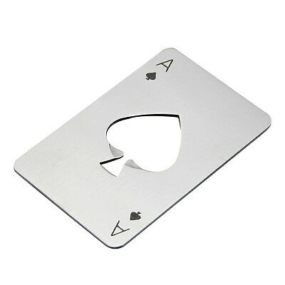 Card Ace of Spade Poker Bar Tool Soda Stainless Steal Beer Bottle Cap Opener  S*
