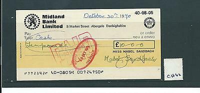 wbc. - CHEQUE - CH62- USED -1970's - MIDLAND BANK, ABERGELE - new colour