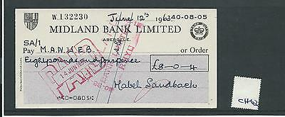 wbc. - CHEQUE - CH63- USED -1960's - MIDLAND BANK, ABERGELE - new style