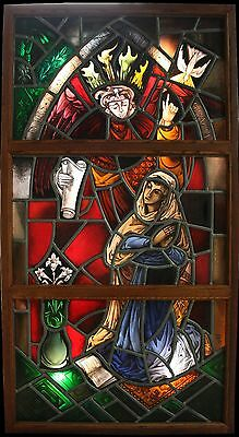"Arnaldo Maas original stained glass art ""La Anunciación"" signed & dated 1970 COA"
