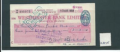 wbc. - CHEQUE - CH75- USED -1950's - WESTMINSTER BANK, SANDWICH,KENT - old font