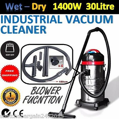 NEW Industrial Stainless Commercial Bagless Dry Wet Vacuum Cleaner 30L Powerful
