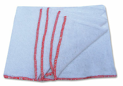 Pack Of 10 Professional Quality White Dish Cloths Red Border