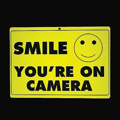 SMILE YOU'RE ON CAMERA SIGN Security Warning Video Surveillance Home Alert CCTV