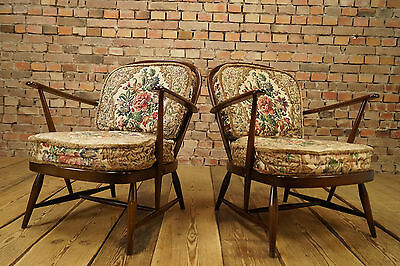 50s VINTAGE 2x COCKTAIL EASY CHAIR ARMCHAIRS CHAIRS FAUTEUIL WINDSOR ARMCHAIR