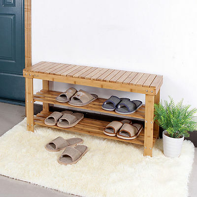 80 cms Large 3 Tier Wooden Bamboo Shoe Rack Bench Storage Organiser ,postage inc