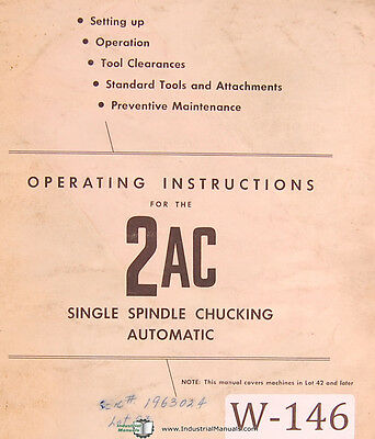 Warner & Swasey 2AC, Operations Manual 1961