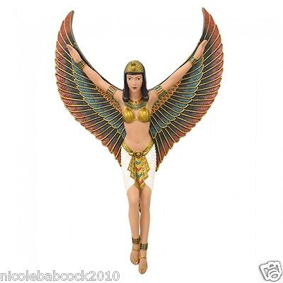 """18.6"""" Ancient Egyptian Revival Beautiful Goddess W/ Wings Isis Wall Decor"""