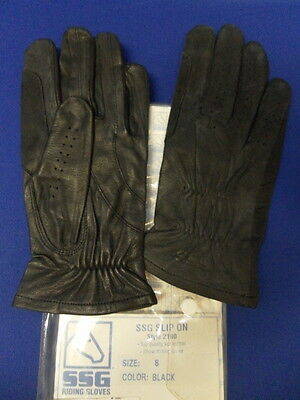SSG Slip On Leather Riding Gloves Various Sizes in Black