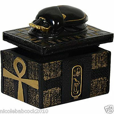Ancient Egyptian Royal Hidden Treasure Box Adorned W/ The Ankh & Scarab Beetle