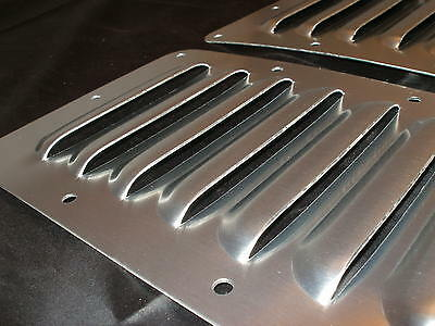"Pair of 5"" Aluminum Hood Bolt-on panels Cooling Jeep 4X4 7 louvers by Rodlouvers"