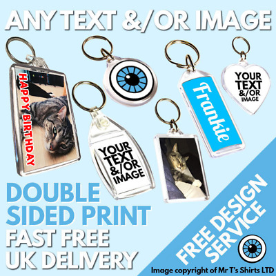 Custom Printed Keyring Personalised Birthday Family Photo Logo Kids Pet Keyrings