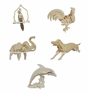 3D Jigsaw Elephant Cock Dog  DIY Wooden Model Kit Toy Puzzle Christmas Gift