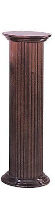 "36"" Round Fluted Birch Wood Cherry Finish Display Pedestal Plant Statue Stand"