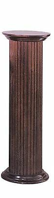 "30"" Round Fluted Birch Wood Cherry Finish Display Pedestal Plant Statue Stand"