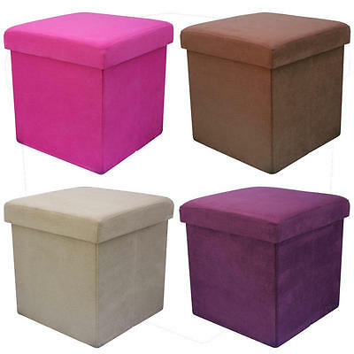 Faux Suede Folding Storage Pouffe Stool Seat Ottoman Box With Lid 38 CMS CUBE