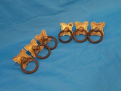 "Antique Arts Crafts 6pc Set Brass Square Plate Ring Handle 1.5""S Drawer Pulls"