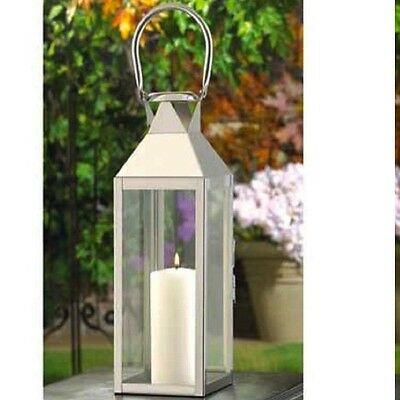 Large Silver Lantern Stainless Steel Candle Holder Wedding Centerpieces